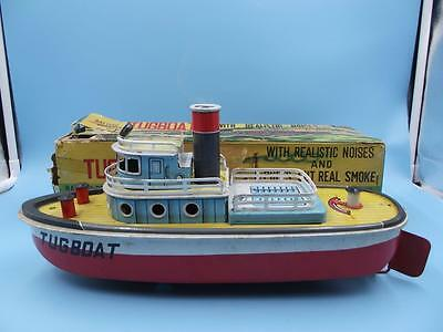 CRAGSTAN Made in Japan TIN Battery operated  Tugboat BOXED Excellent condtion