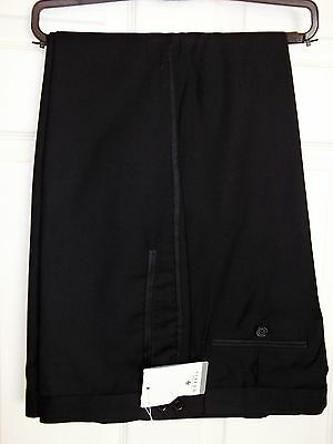 Mens Black Tuxedo / Dinner Suit Formal Trousers With Side Stripe Size 40R