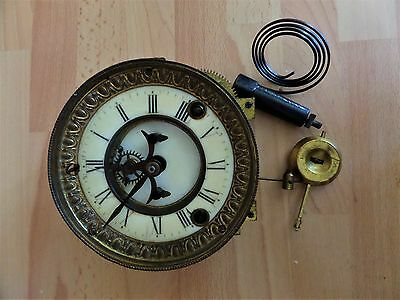 Ansonia 8 Day  4 1/2 Clock Movement Visible Escapement 1881 With Pendulum