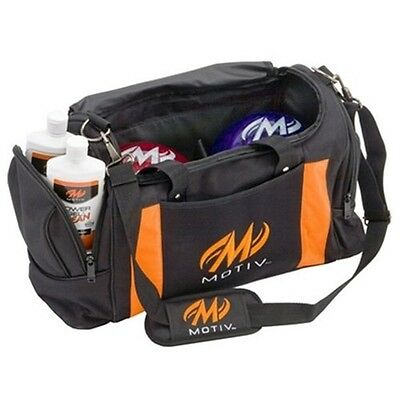 Motiv 2 Ball Deluxe Shoulder Tote Bowling Bag with Shoe Pocket Black/Orange