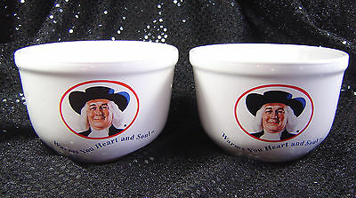 "Set/2 Ceramic Quaker Oats Bowls ""Warms You Heart and Soul"" 1999 Houston Harvest"