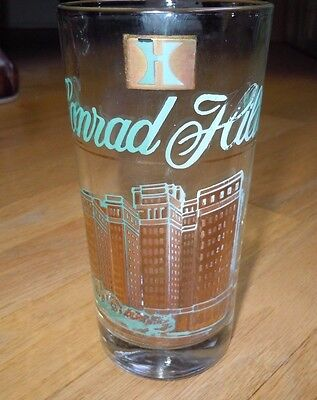 Vintage CONRAD HILTON - CHICAGO SOUVENIR GLASS w/ GOLD DRAWING OF HOTEL