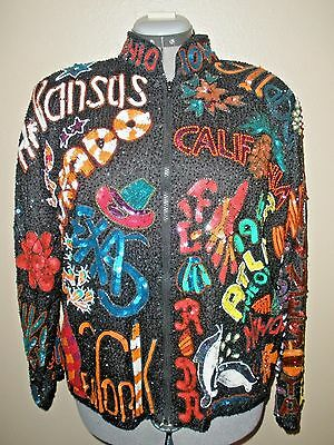 Vintage 80's Heavy Beaded Sequined Silk Lined Jacket by Maple sz L 50 US states