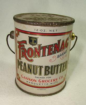 Vtg  Frontenac Brand Peanut Butter Gannon Grocery Co Collectible Tin Can