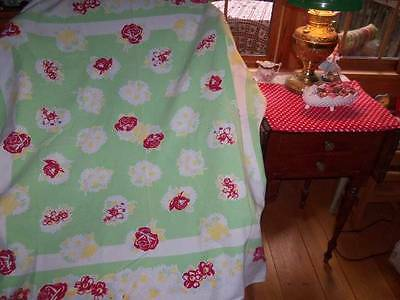 Vintage Tablecloth Jadite green roses daisies cottage excellent 50s retro pretty