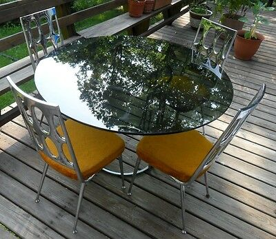 Vtg Chromcraft Mid-Century 4 Orange Plush Chairs Smoked Glass Chrome Table Set