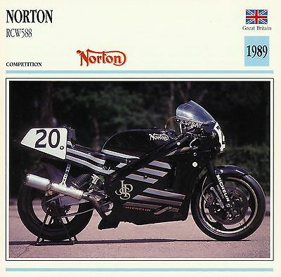 1989 NORTON RCW588 motorcycle collector card.