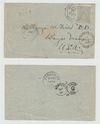 Turkey Old Cover Constantinople Galata To Usa 1895 !!