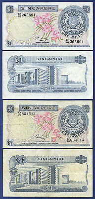 SINGAPORE $1 DOLLAR  ORCHID SERIES x 2 NOTES