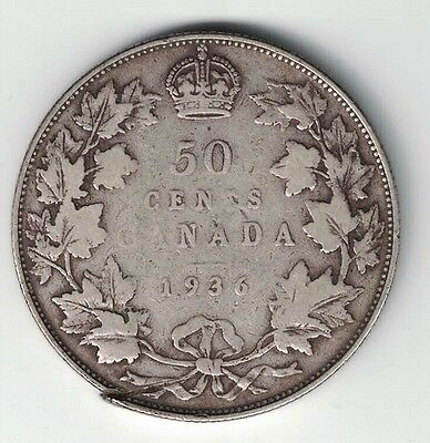 Canada 1936 50 Cents Half Dollar King George V Silver Canadian Coin
