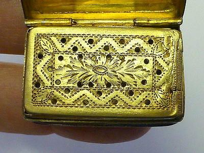 1830 Edward Smith Flower Ribbon Design VINAIGRETTE Sterling Silver Box L DUNN