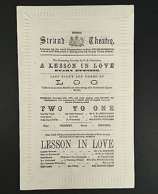 Dec 21, 1875 ROYAL STRAND THEATRE Westminster Program LOO, TWO TO ONE, LESSON IN