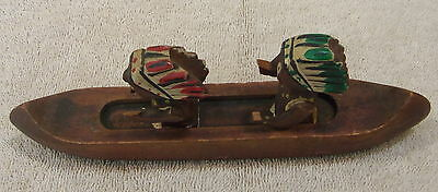 Vintage Wooden Canoe With 2 Indians Marked Japan - 7 1/2""