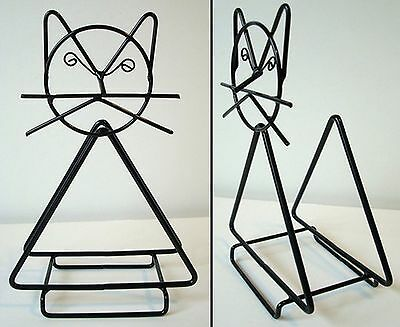 Cat or kitten retro Eames style old steel wire napkin letter holder all metal