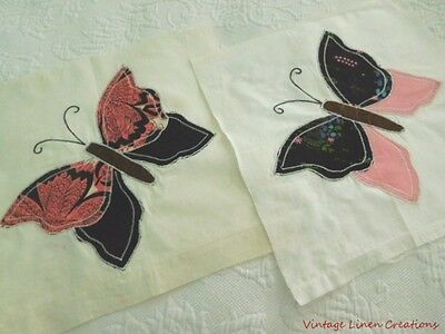 TWO Vintage APPLIQUED * BUTTERFLY * QUILT BLOCKS / SQUARES * RARE Pink & Black