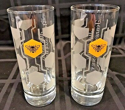 Set of 2 Jack Daniel's  Tennessee Honey Whiskey Glasses ~ 10 Oz White Logo