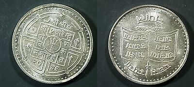 1979 Nepal 50 Rupees SILVER - FAO - UNC (hazy) Only 15,000 minted!  stk#djm29