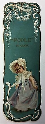 H2626    Boston, Ma. Book Mark Victorian Trade Card,   Poole Piano Co.