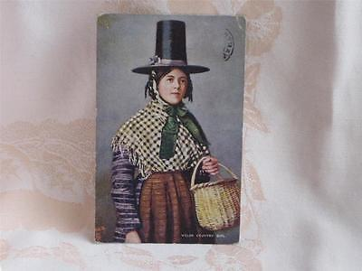 Antique Tuck Pc Welsh Country Girl With Basket, Tall Black Hat, Used 1906