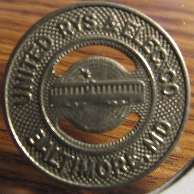 Very Old United Rys. & Elec. Co. Baltimore, MD Transit Trolley Token - Maryland
