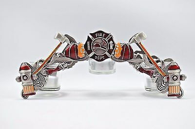 Spoontiques Fire Department Dept 3 Tier Candle Holder Axes Helmet Fire Hydrant