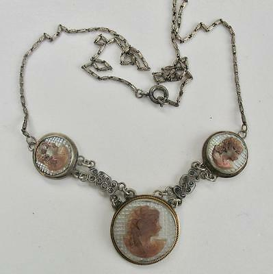 Vintage Sterling Silver Hand Carved Shell Triple Cameo Portrait Necklace 1940S