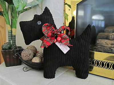 Festive Vintage Chenille Scottie dog pillow 30's pattern