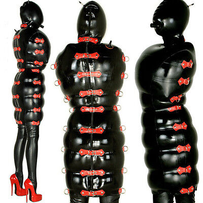 Latex Rubber Stylish Black and Red Inflatable Dress Hood Skirt Sizes XS-XXL