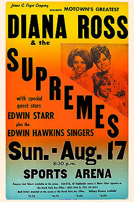 Diana Ross & the Supremes at the Sports Arena Concert Poster 1969