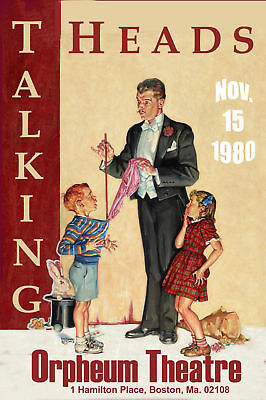 New Wave: The Talking Heads at  Boston Orpheum Concert Poster Circa 1980