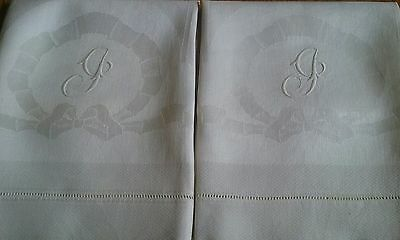 "2 VINTAGE IVORY LINEN DAMASK TOWELS ~ MONOGRAM J ~ HAND EMBROIDERED ~ 22""x39"""