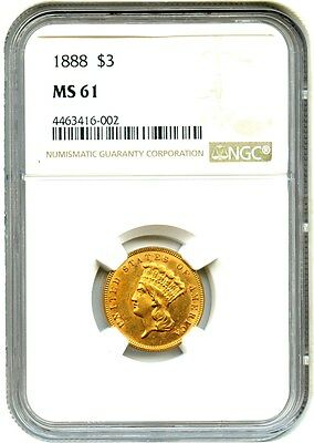 1888 $3 NGC MS61 - Low Mintage Issue - 3 Princess Gold Coin - Low Mintage Issue
