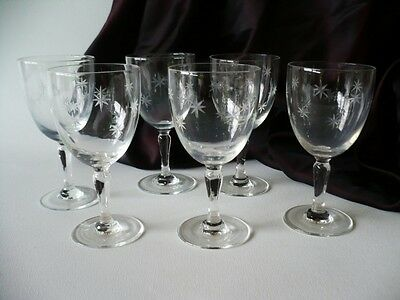 Antique Set Of 6 Edwardian Sherry Stemware Glasses Star Etch Pattern