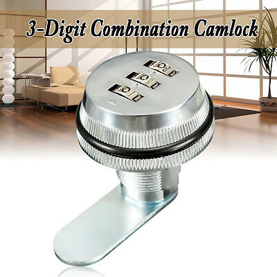 Alloy Code Combination Cam lock Keyless Post Mail Box Cabinet RV 3 Dial Chrome
