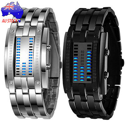 Luxury Men's LED Digital Watch Stainless Steel Band Military Sport Wrist Watches