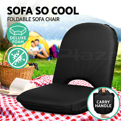 Portable Lounge Sofa Beach Chair Recliner Outdoor Floor Stool Camping Black