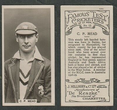 3118)  CIG CARD 1928 FAMOUS TEST CRICKETERS by  MILLHOFF #12 C.P. MEAD ENGLAND