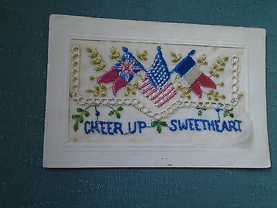 Ww1 Vintage Cheer Up Sweetheart With Flags - Silk Postcard + Insert Card