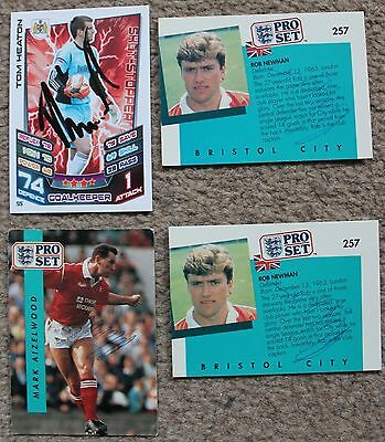 Bundle of BRISTOL CITY FC Hand SIGNED Pro Set Match Attax CARDS x4