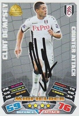 CLINT DEMPSEY (Fulham & Spurs FC) Hand SIGNED 'Match Attax' Trade CARD
