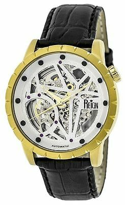 Reign Mens Xavier Automatic Skeleton Dial Crocodile-Embossed Leather : REIRN3903