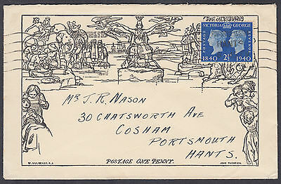 1940 Stamp Centenary 2 1/2d Mulready style FDC; Portsmouth&Southsea M/C: Corsham