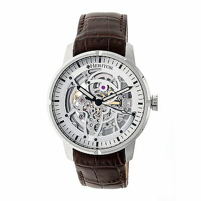 Heritor Ryder Skeleton Dial Leather-Band Watch, Silver/Silver/Brown, : HERHR4603