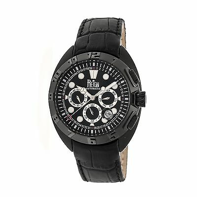 Reign Ronan Automatic Leather-Band Watch w/Day/Date, Black, Standard, REIRN3405