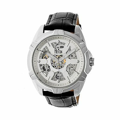 Reign Carlisle Automatic Skeleton Dial Leather-Band Watch, Silver, : REIRN4203