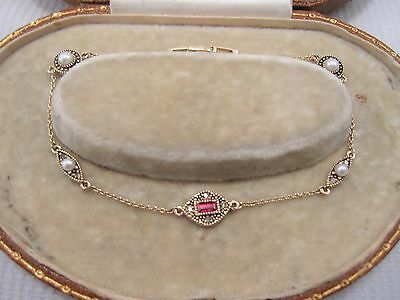 Bracelet Ruby Diamond & Pearl in 9ct Yellow Gold