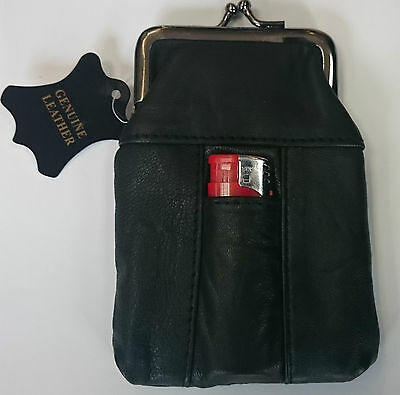 Real Leather  Cigarette Case Lighter Pouch Black Clasp Closure