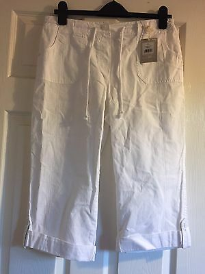 White Cropped Trousers Size 10 New With Tags