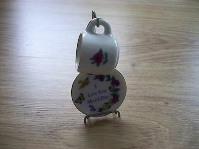 Vintage I Love Mum & Dad Cup And Saucer Ornament With Display