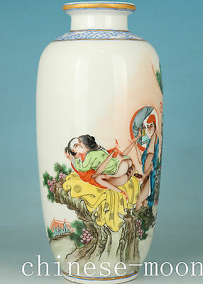 Chinese Porcelain Handmade Painting Ancient New Married  Statue Vase